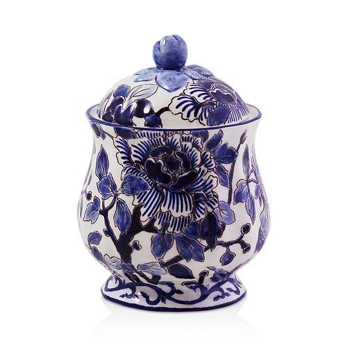Gien France - Piviones Bleu Sugar Bowl