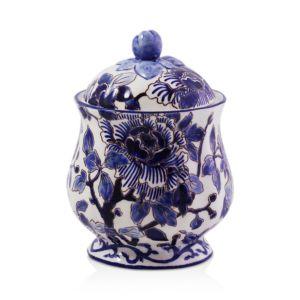 Gien France Piviones Bleu Sugar Bowl