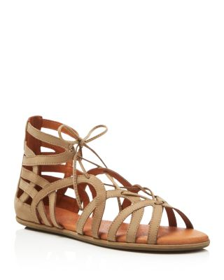 By Kenneth Cole 'Break My Heart 3' Cage Sandal in Taupe Suede