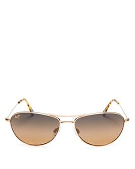 Maui Jim - Unisex Baby Beach Polarized Brow Bar Aviator Sunglasses, 56mm