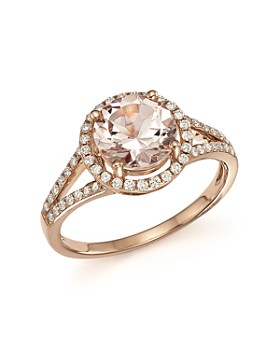 Bloomingdale's - Morganite and Diamond Halo Ring in 14K Rose Gold- 100% Exclusive