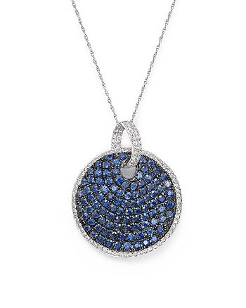 "Bloomingdale's - Blue Sapphire and Diamond Disc Pendant Necklace in 14K White Gold, 18"" - 100% Exclusive"