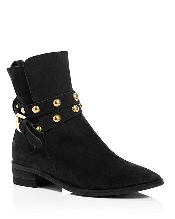 See by Chloé - Women's Janis Suede Studded Strap Low Heel Booties - 100% Exclusive