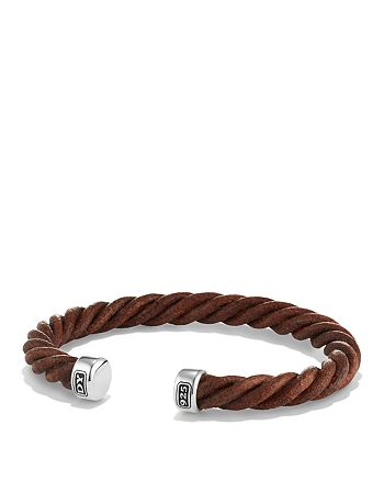David Yurman - Cable Classics Leather Cuff Bracelet in Brown