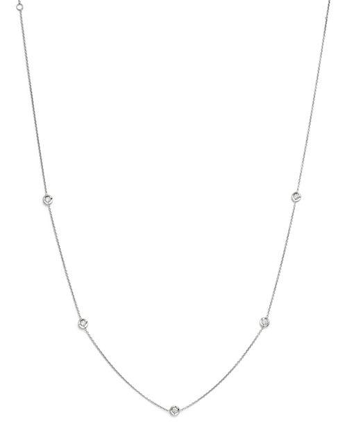 "Roberto Coin - 18K White Gold Diamond Station Necklace, 18"""
