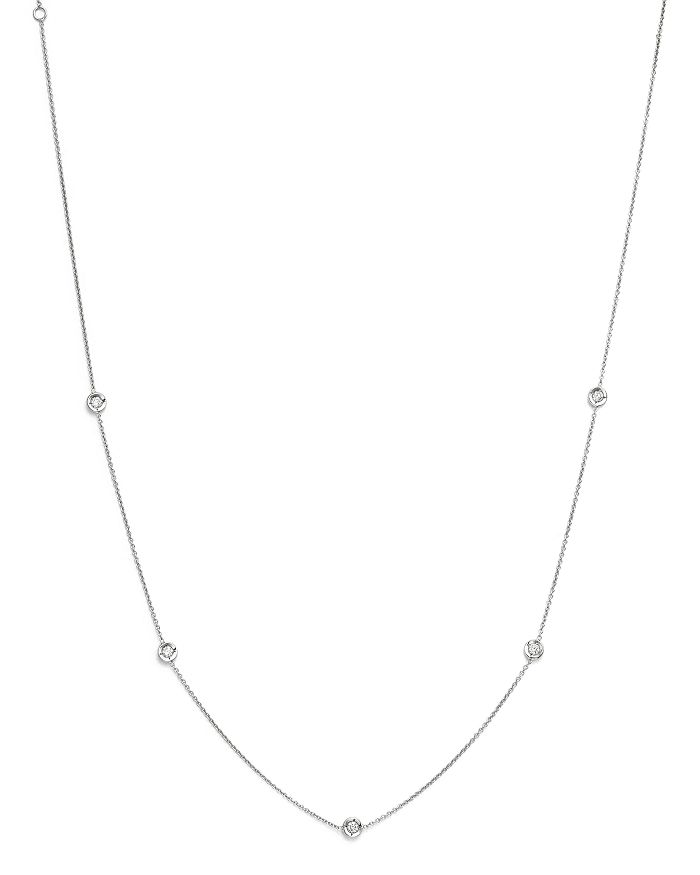 Roberto Coin - 18K White Gold Diamond Station Necklace, 18""