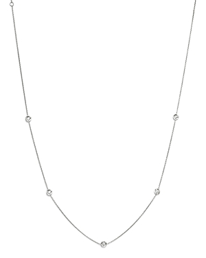 Roberto Coin 18K White Gold Diamond Station Necklace, 18