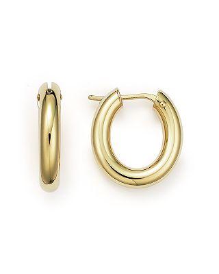 Roberto Coin 18k Yellow Gold Oval Hoop Earrings Bloomingdale S
