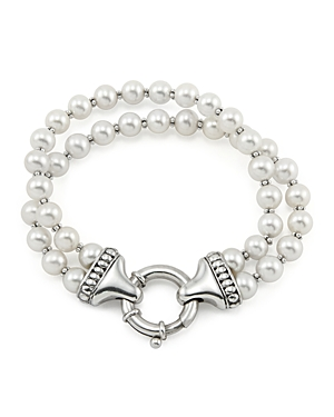 Lagos Sterling Silver Luna 2 Strand Pearl Bracelet