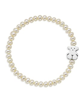 TOUS - Cultured Freshwater Pearl Bear Charm Bracelet