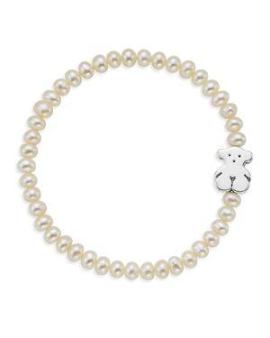 Tous Cultured Freshwater Pearl Bear Charm Bracelet