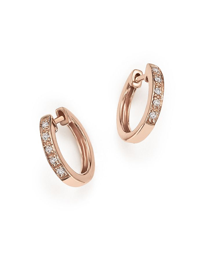 KC Designs - Diamond Mini Huggie Hoops in 14K Rose Gold, .10 ct. t.w.