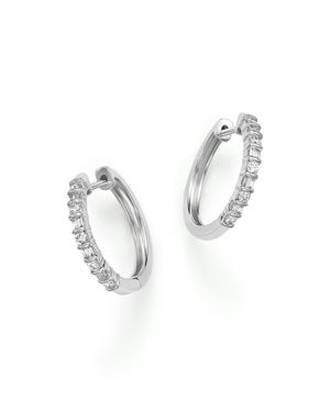 Baguette and Round Diamond Hoop Earrings in 14K White Gold, .25 ct. t.w.