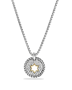 David Yurman Cable Collectibles Star of David Charm Necklace with Diamonds with 18K Gold