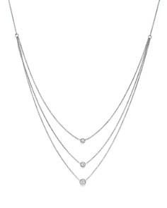 Bloomingdale's - Diamond Three Station Bezel Necklace in 14K White Gold, .50 ct. t.w. - 100% Exclusive