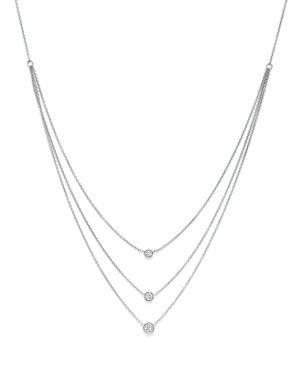 Diamond Three Station Bezel Necklace in 14K White Gold, .50 ct. t.w. - 100% Exclusive