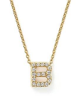 """Roberto Coin - Roberto Coin 18K Yellow Gold and Diamond Initial Love Letter Pendant Necklace, 16"""""""