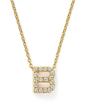 Roberto Coin - Roberto Coin 18K Yellow Gold and Diamond Initial Love Letter Pendant Necklace, 16""