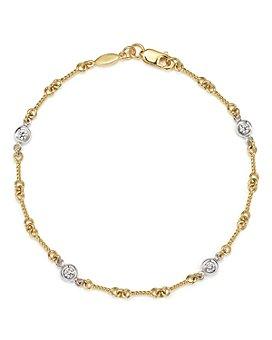 Roberto Coin - Roberto Coin 18K Yellow Gold and Diamond Station Bracelet