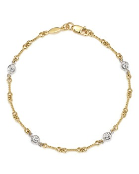 Roberto Coin - Roberto Coin 18K Yellow Gold and Diamond Station Bracelet