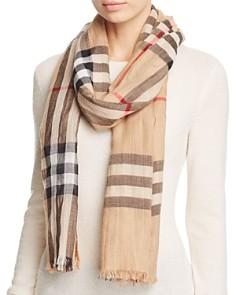 Burberry - Giant Check Wool & Silk Gauze Scarf