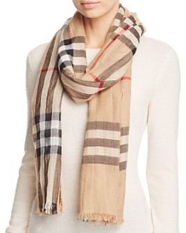 Burberry - Lightweight Giant Check Wool & Silk Scarf