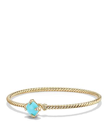 David Yurman - Châtelaine Bracelet with Turquoise and Diamonds in 18K Gold