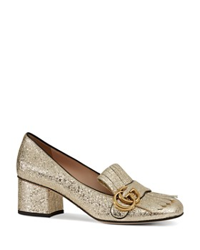 Gucci - Women's Marmont Metallic Mid-Heel Pumps