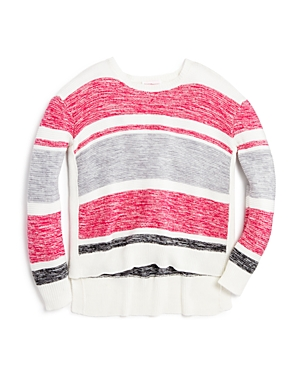 Design History Girls' Marled Stripe High Low Sweater - Sizes S-xl
