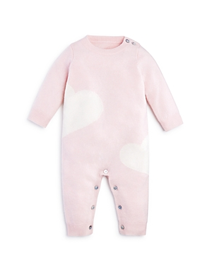 Bloomies Girls Cashmere Hearts Intarsia Coverall Baby  100 Exclusive