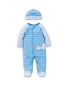 Little Me - Boys' Elephant Striped Footie & Beanie Set - Baby