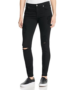 7 For All Mankind - b(air) Destroyed Skinny Ankle Jeans in Black