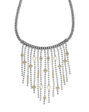 Lagos 18K Gold and Sterling Silver Caviar Icon Bib Rope Necklace, 16