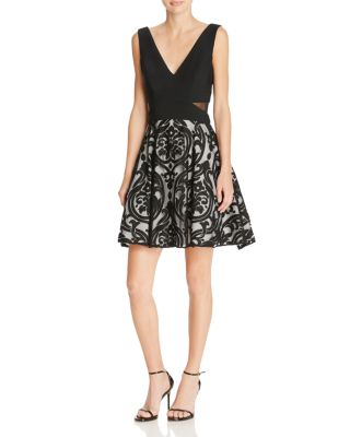 FIT-AND-FLARE COMBO COCKTAIL DRESS