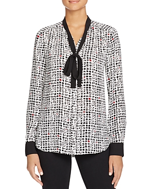 Nydj Abstract Print Tie Neck Blouse - 100% Exclusive