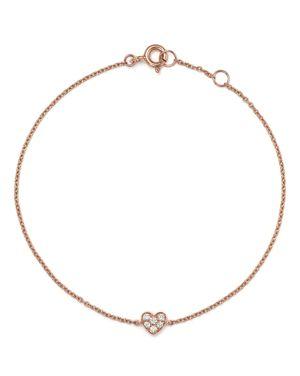 Mini Diamond Heart Bracelet in 14K Rose Gold, .07 ct. t.w. - 100% Exclusive