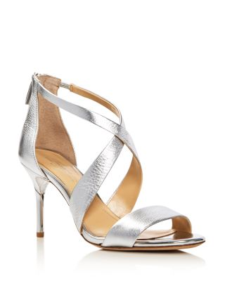 PASCAL METALLIC CRISSCROSS HIGH-HEEL SANDALS