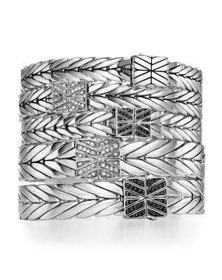 Sterling Silver Modern Chain Bracelet with Black Spinel