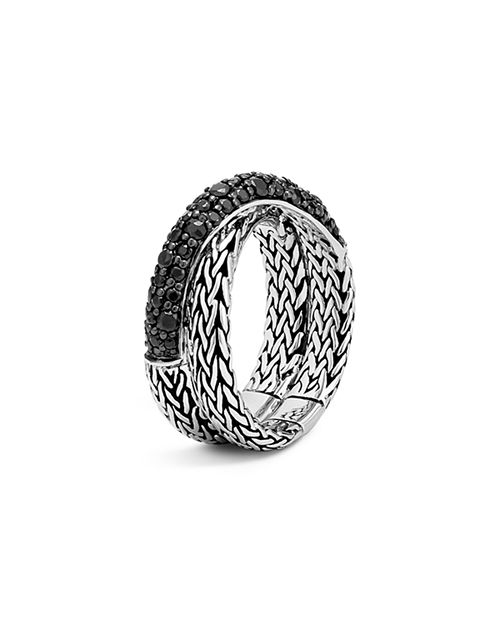 JOHN HARDY - Sterling Silver Classic Chain Overlap Ring with Black Sapphire