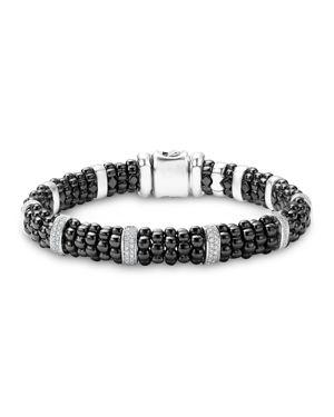 Lagos Black Caviar Ceramic and Sterling Silver Bracelets with Pave Diamond Bars