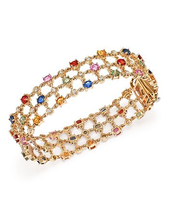 Bloomingdale's - Multi Sapphire and Diamond Bracelet in 14K Yellow Gold - 100% Exclusive