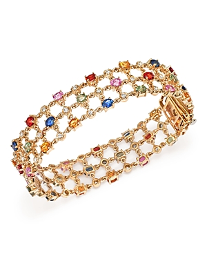 Multi Sapphire and Diamond Bracelet in 14K Yellow Gold - 100% Exclusive