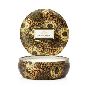 Voluspa Japonica Baltic Amber 3 Wick Candle in Decorative Tin