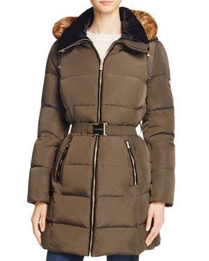 Calvin Klein Belted Faux Fur Trim Down Coat