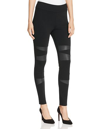 VINCE CAMUTO - Faux Leather Patch Leggings