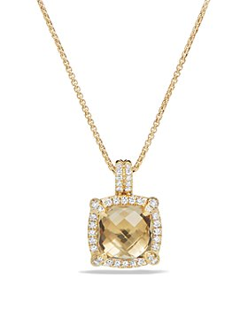 David Yurman - 18K Yellow Gold Châtelaine Pavé Bezel Pendant Necklace with Gemstones & Diamonds