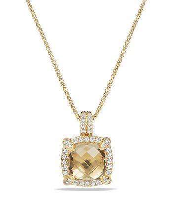 David Yurman - Châtelaine Pavé Bezel Pendant Necklace with Champagne Citrine and Diamonds in 18K Gold