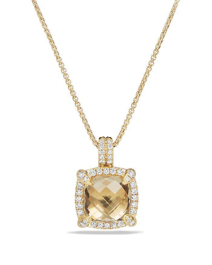David Yurman - 18K Yellow Gold Châtelaine Pavé Bezel Pendant Necklace with Gemstones & Diamonds