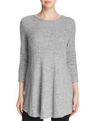 B COLLECTION BY BOBEAU Brushed Babydoll Tunic in Heather Grey