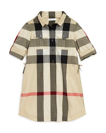Burberry - Girls' Checked Button Front Dress - Little Kid, Big Kid